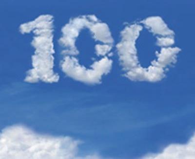 100 in clouds
