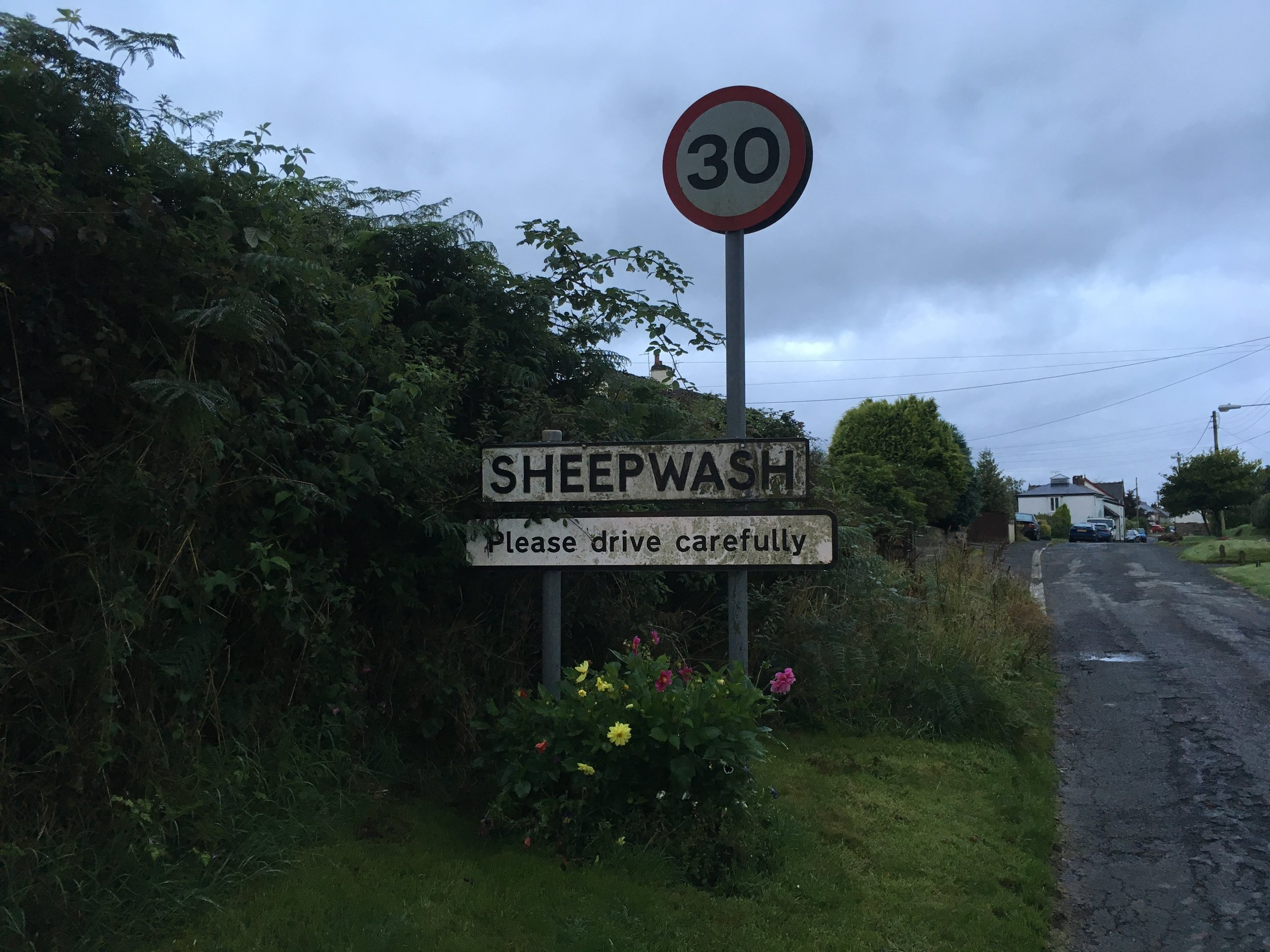 sheepwash entry sign