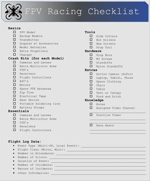 Racing Checklist -