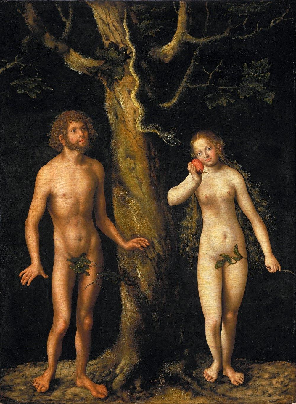 Adam and Eve in the Garden of Eden [Lucas Cranach the Elder [Public domain], via Wikimedia Commons