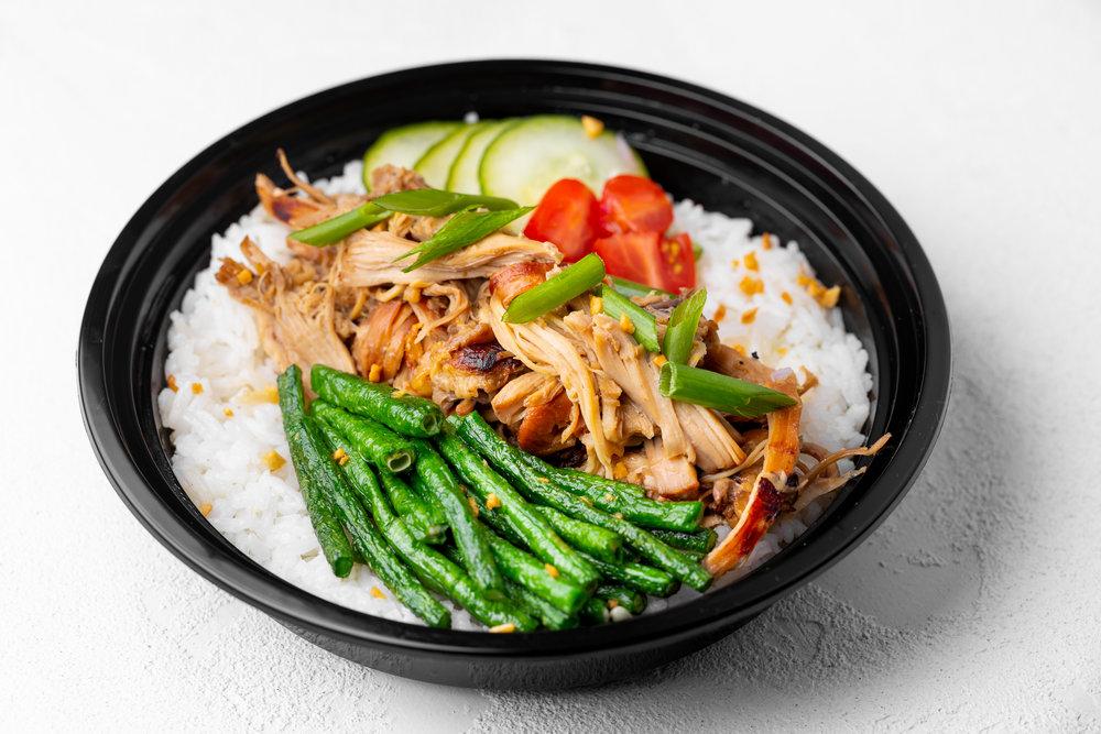 Chicken Adobo - Shredded chicken, signature garlic/soy/vinegar marinade, pickled cucumber