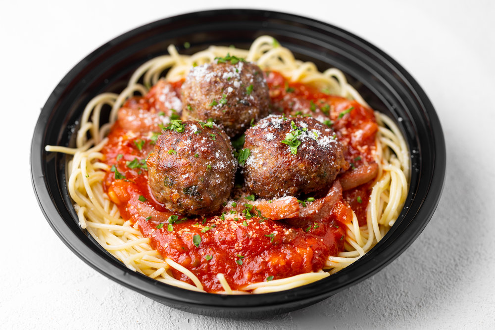 Sweet Spaghetti - Family recipe, seared all-beef franks, homemade meatballs