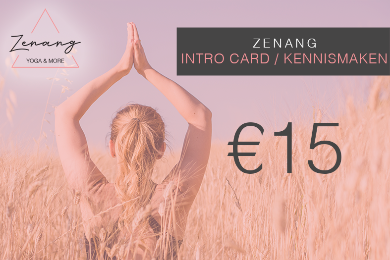 IntroductionCard.Kennismaken. - If this is your first time ever at Zenang Yoga & More, then this card if your you. This card can only be bought one time for Introductory class and it allows you to attend 2 yoga classes within 1 month.