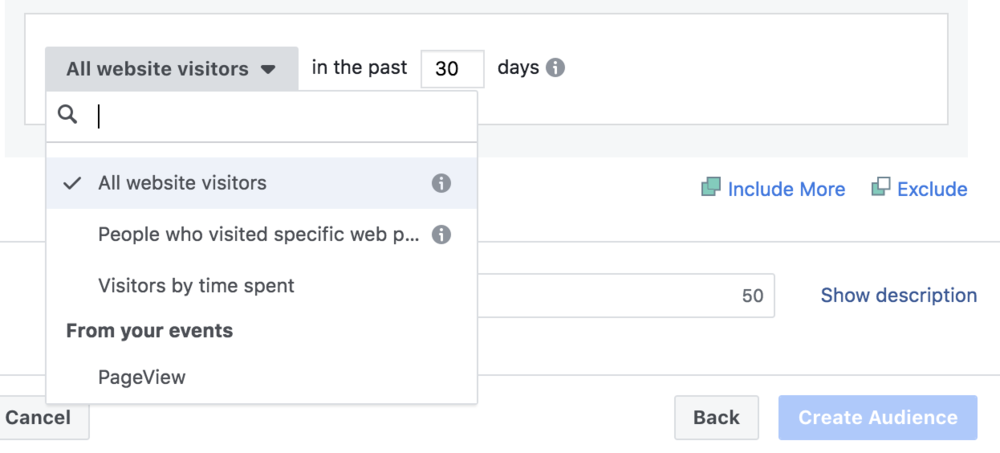 Here is where you can choose where Facebook pulls the data from… ALL WEBSITE VISITORS is what we would select. HUGE! Imagine placing an ad in front of EVERYONE who visits your website!!!