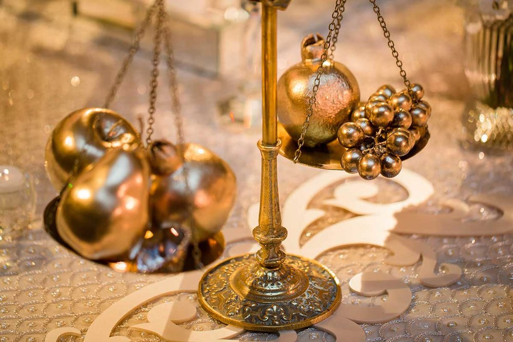 SOFREH decor details fruit gold scales