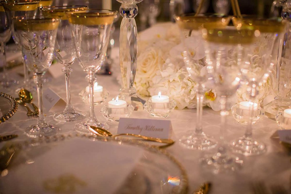 Tablescape Gold rimmed wedding table setting at the Dorchester