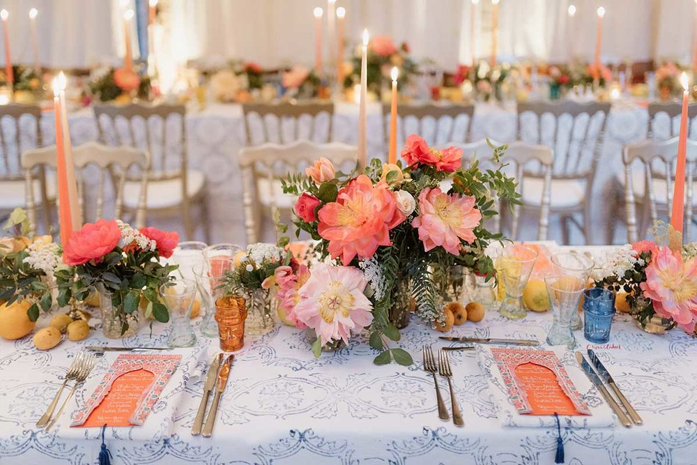 Wedding tablescape yassab floral kingfisher florist ester and erik candles Marrakech bespoke linen