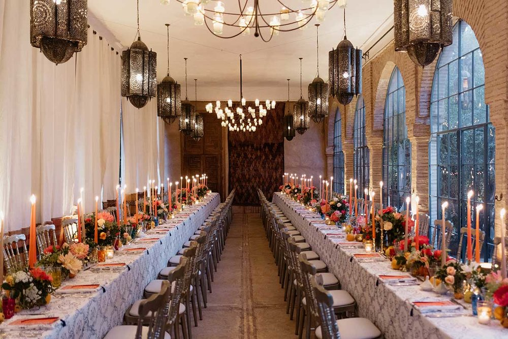 Tablescape Marrakech wedding Beldi Country Club Moroccan lanterns