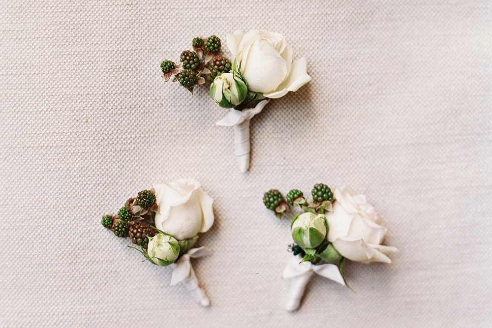 Three white roses boutonniere buttonholes Federica Ambrosini