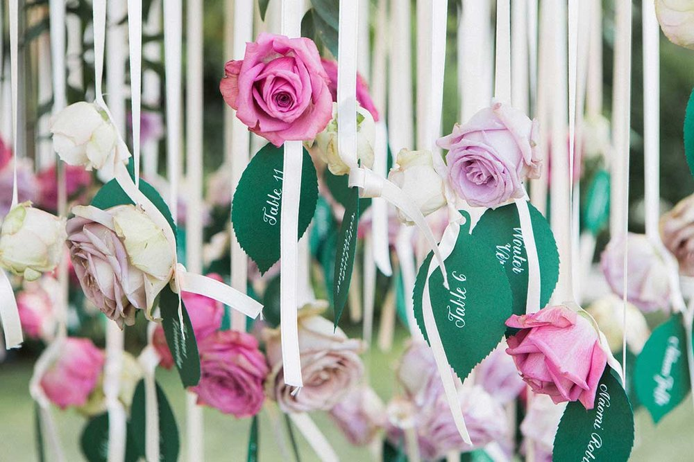 Rose escort cards lasercut name cards