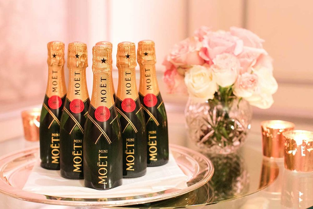 Moet & Chandon champagne mini bottles on tray