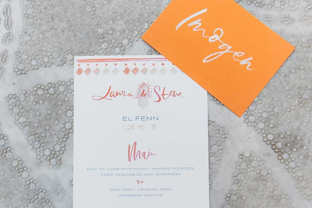 Menu placecard dinner stationery by Lamplighter