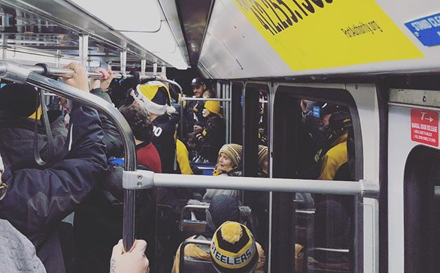 I can't explain why so many of us take this crowded T ride to willingly subject ourselves to this game year after year, sitting in the cold and precipitation for 3.5 hours, only to leave dejected and disappointed. I can only say that this city is faithful, full of hope and resilient and I love it for that and so much more. #gosteelers #patriotsweek #herewego