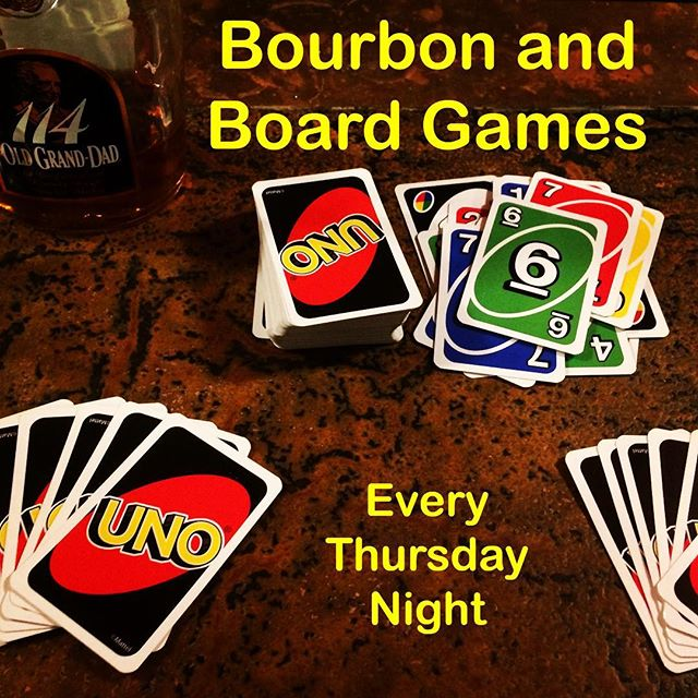 Play ours or bring your own in! Bourbon specials all night long. Happy hour from 5-7 (6 dollar Manhattans!) #earlybirdspecials #happyhour #bourbon #boardgames #studiocity