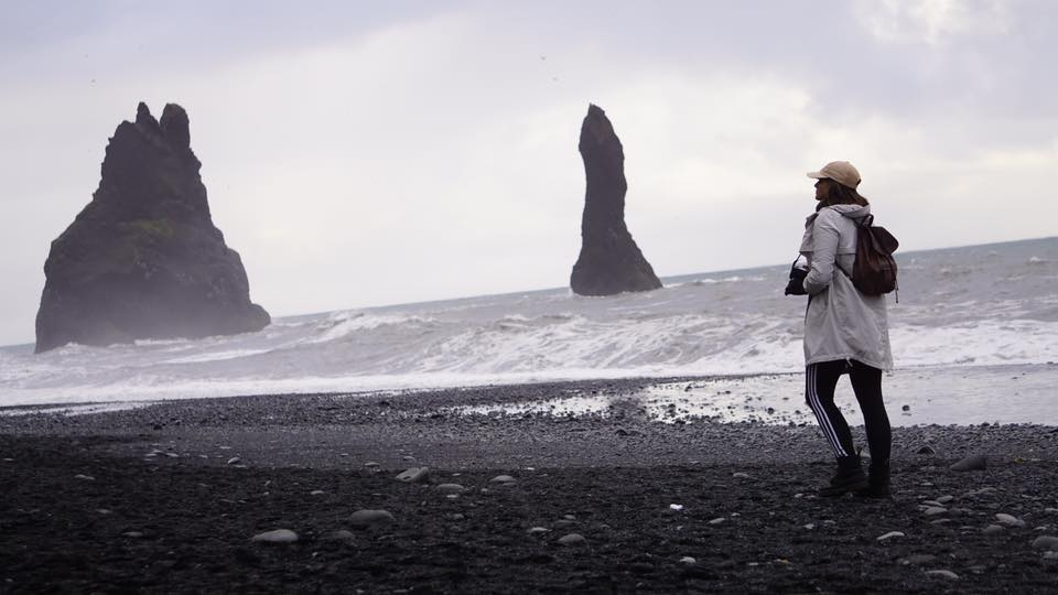 Emily gallivanting around Reynisfjara, Iceland