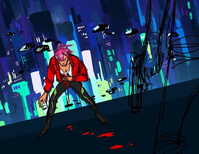 """first in a bunch of WIPs to come for our cybergenre zine! this is by @tsuyuus: """"first cybergenre wip!! i started this for the original zine when it was just plain cyberpunk, and because i never do backgrounds i wanted to challenge myself!! the city background is my favourite part, still working on a way to incorporate the figure on the right..."""" . . . . . . . #instaart #art #drawing #illustration #artoftheday #artist #artistsoninstagram #digitalart #procreate #instartlovers #sketchaday #artwork #sfusketchclub"""