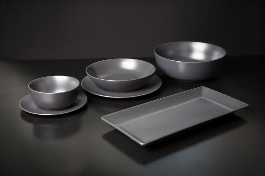Matte black side plate, bowls, platters I $2 - 3.00 each