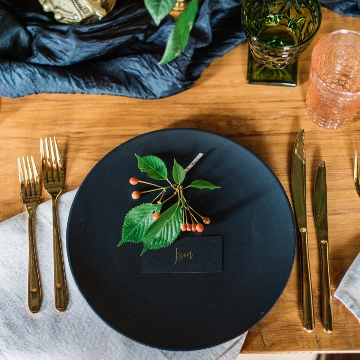Matte black dinner plate I $2.00 each I Qty 300