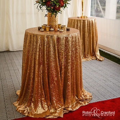 Gold Sequin Round for 1.8 metre table I $45.00 I Qty 30  Large Rectangle I $50.00 I Qty 1             Round Cake Table I $30.00 I Qty 1