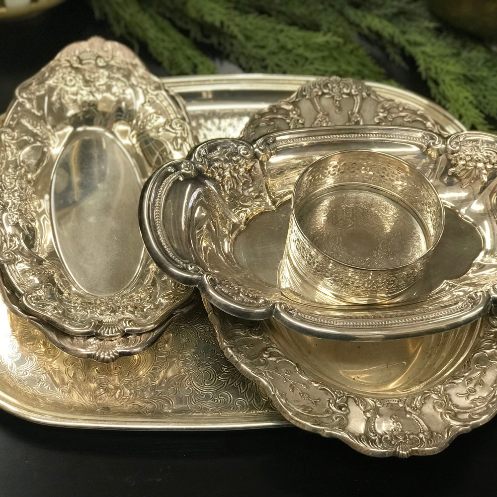 Assorted Silver Serving Trays I $7.50