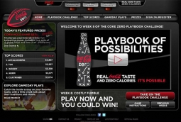 Website for Playbook - The game itself was housed on CokeZero.com, and housed the interactive video game component. Top Scores were tracked, data collected for the contest and loads of college football related fan information provided.