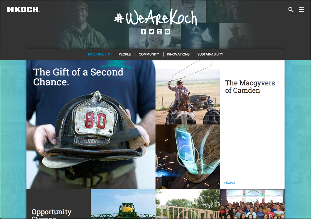 WeAreKoch.com - Knowing how many of the products and services Koch companies manufactured truly helped people, I helped develop the platform that let them be told.