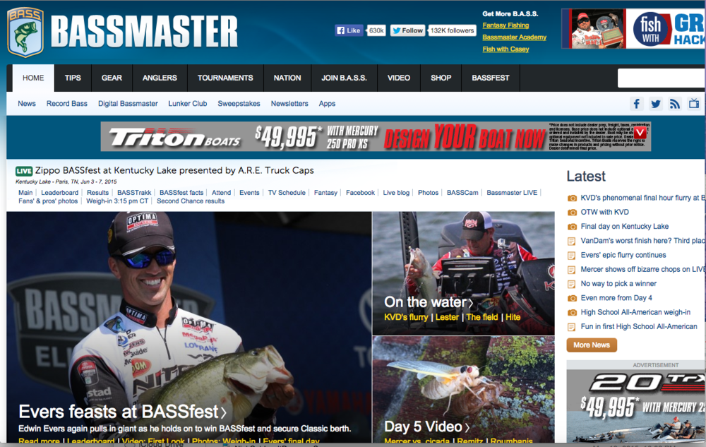 ESPNOutdoors - As an ESPNOutdoors.com contributor, I provided editorial coverage for B.A.S.S (Bassmaster), STIHL TIMBERSPORTS, Redfish Cup and MadFin Shark Series, focusing on human interest, science and education.