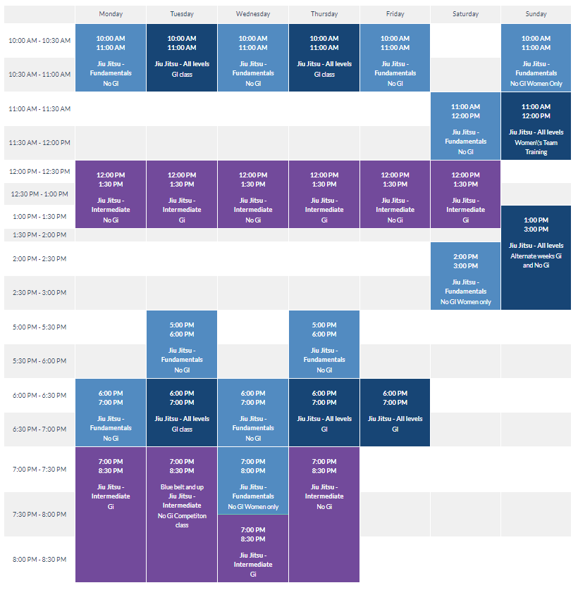 An example of what a gym's schedule might look like on their website.