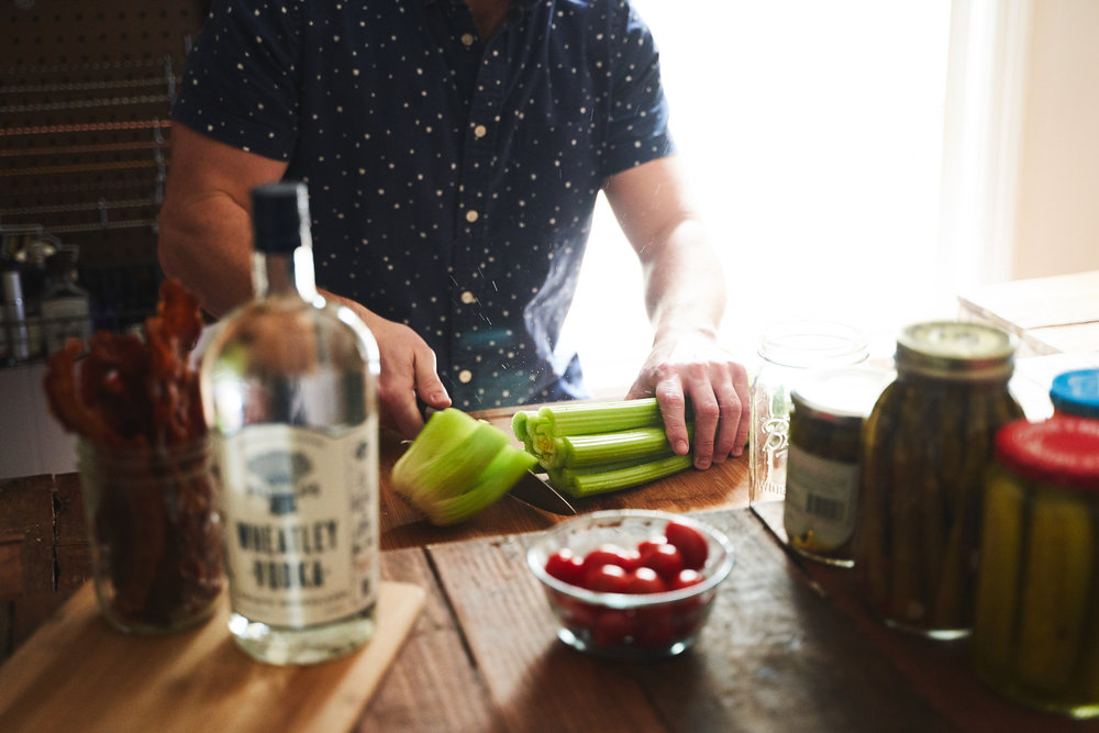 Always buy a whole celery stalk, its more cost effective and its long enough to stir your Bloody Mary.