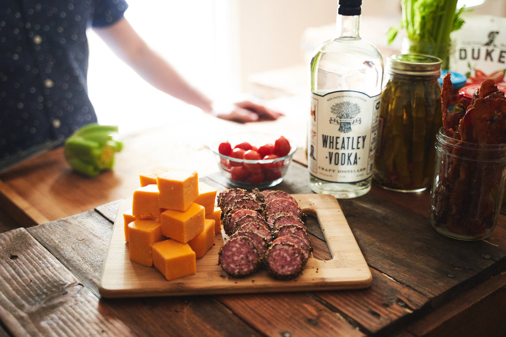 Pro-tip: Cut LARGE cubes of cheese and thick slices of hard salami