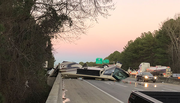 The wreck closed the interstate for hours. Photo by Jessica Brodie.