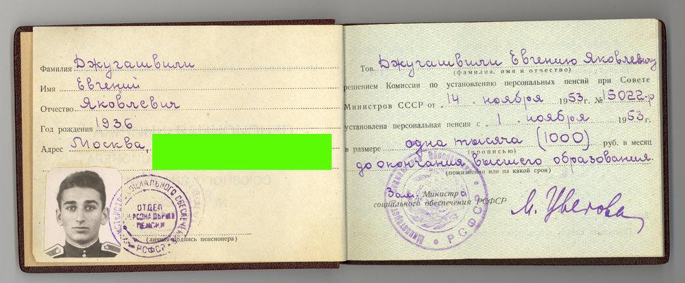 Пенсионная книжка Евгения Джугашвили.