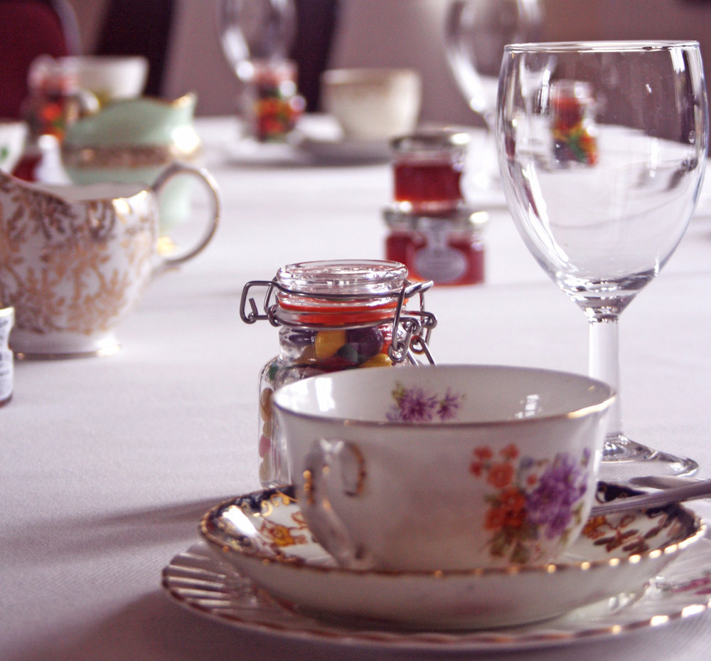Vintage Afternoon Tea - Our popular vintage china package is perfect for weddings, anniversaries & anything else!This theme comes with everything you need for a classic afternoon tea. (vintage china trios, cutlery, napkins etc...)£15.50 per head (minimum 12 people) for classic menu; props & styling