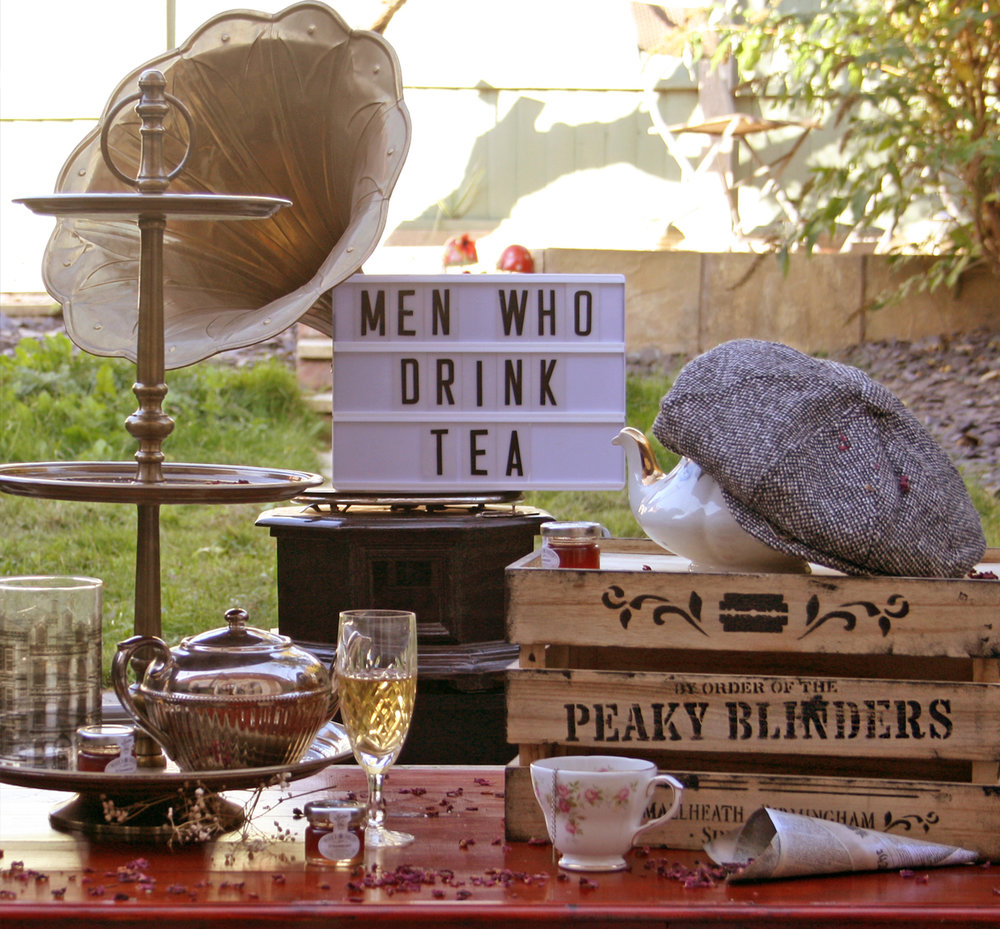Peaky Blinders Afternoon Tea - - For Men (& Women!) Who Drink Tea -Straight from our Birmingham roots, this one is perfect for Peaky parties & weddings! Props & styling included, make it an occasion to remember By Order of the Peaky Blinders! (Add our miniature 'Porky Blinder' Pies to your classic menu for authenticity!)£17.50 per head (minimum 12 people) for classic menu; props & styling