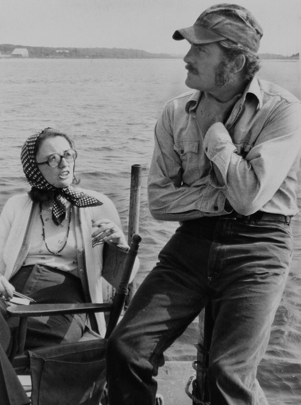 "Kathleen Carroll… - on the set of ""Jaws"" with actor Robert Shaw."