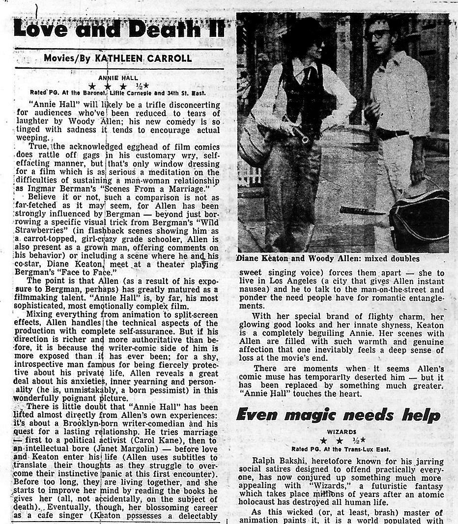 "Kathleen Carroll review of ""Annie Hall"" for NY Daily News"