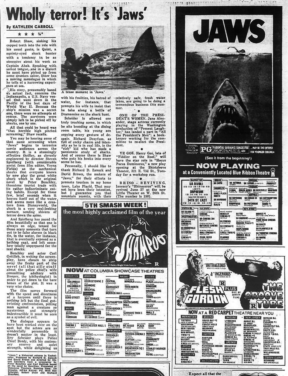 "Kathleen Carroll review of ""Jaws"" for NY Daily News"