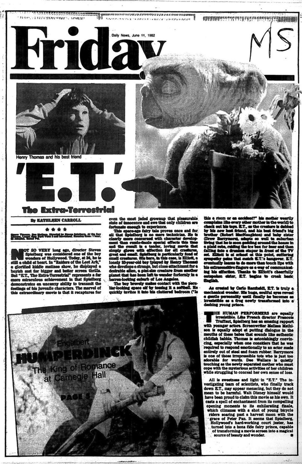 "Kathleen Carroll review of ""E.T."" for NY Daily News"