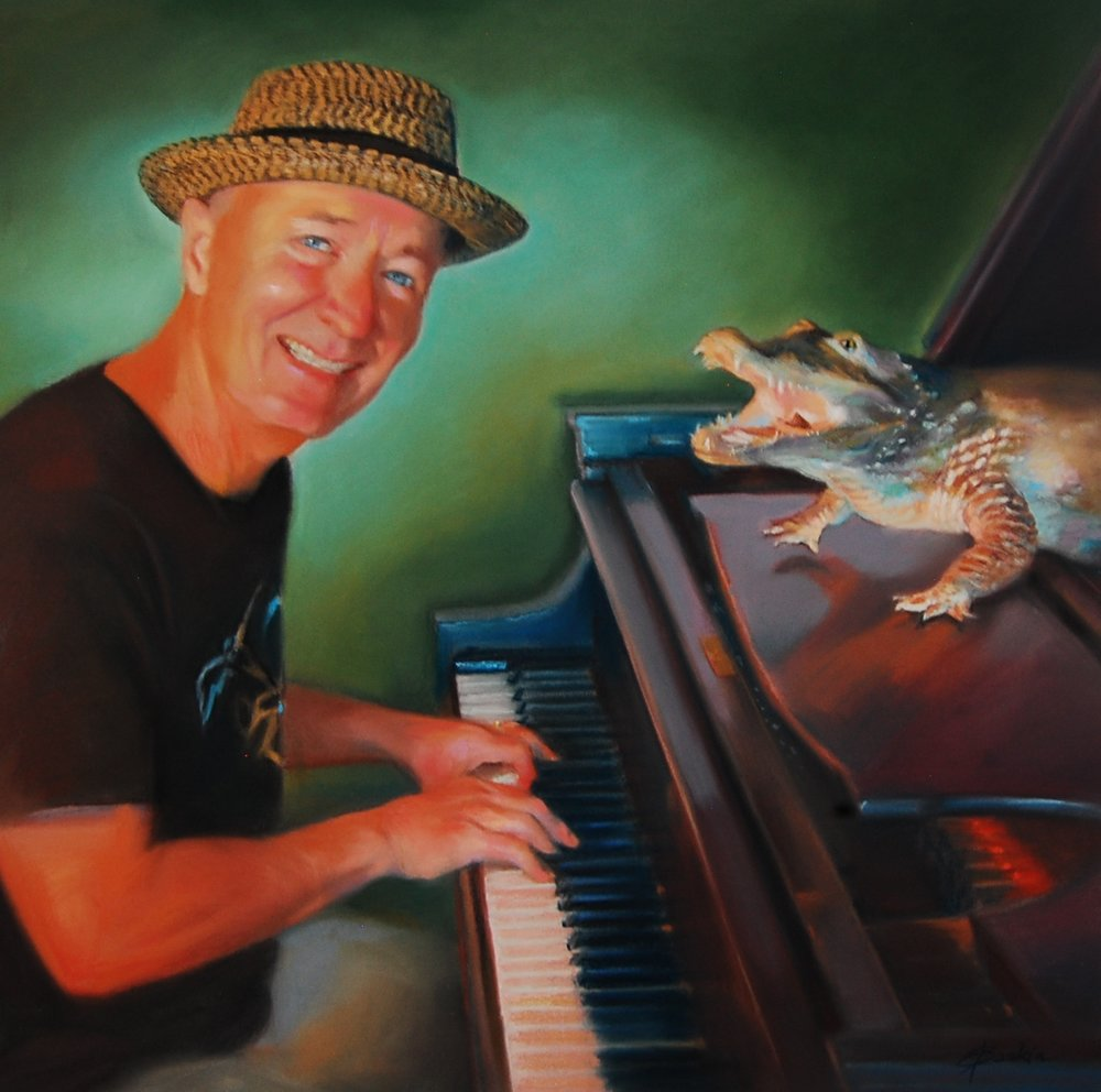 """Phil Dutton and an Alligator"", pastel by E. Baskin, part of ""Passion"" series, 2017, 18""x24"" (sold)"