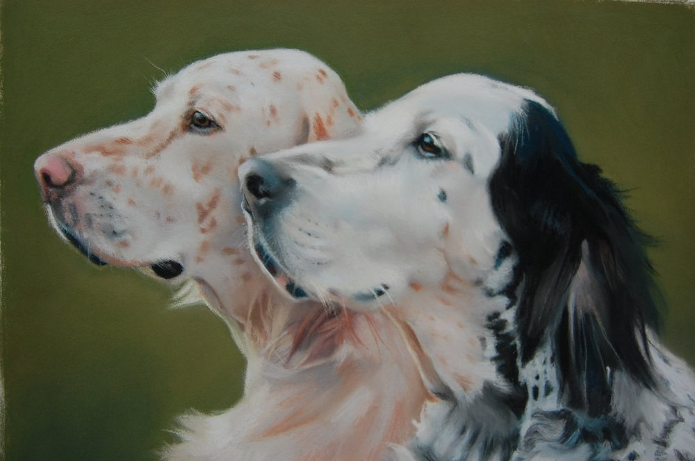 """Mother and Daughter,"" pastel commission by E. Baskin (sold)"