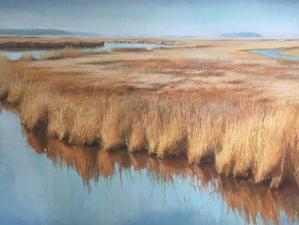 """Blackwater Wildlife Refuge,"" acrylic and pastel, by E. Baskin 16""x20"" $1,200 (sold)"