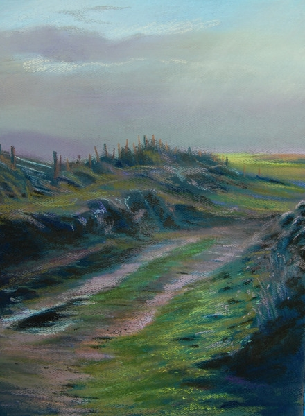 """View from Dooey Beach,"" Donegal, Ireland, pastel by E. Baskin, 16""x20"", $1,750."