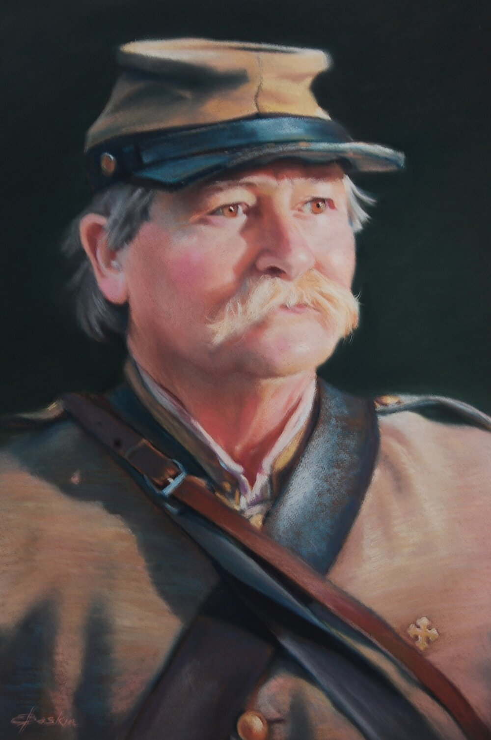 """The Reenactor,"" pastel by Evie Baskin, 18""x24"", part of my 2016 series, ""Paths of Life,"" (sold)"
