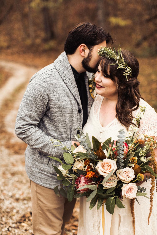 protea bouquet moody elopement fall