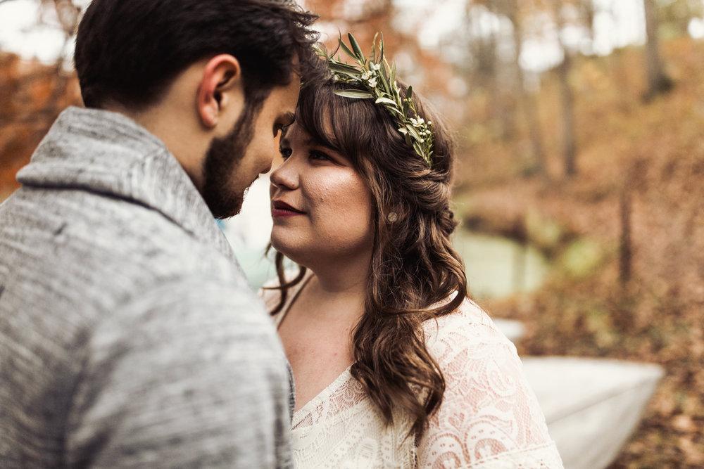 simple greenery flower crown elopement