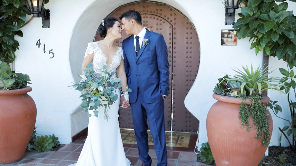 Wedding Videography - San Clemente, CA - Casa Romantica - Bride and groom holding hands and leaning upon one another.