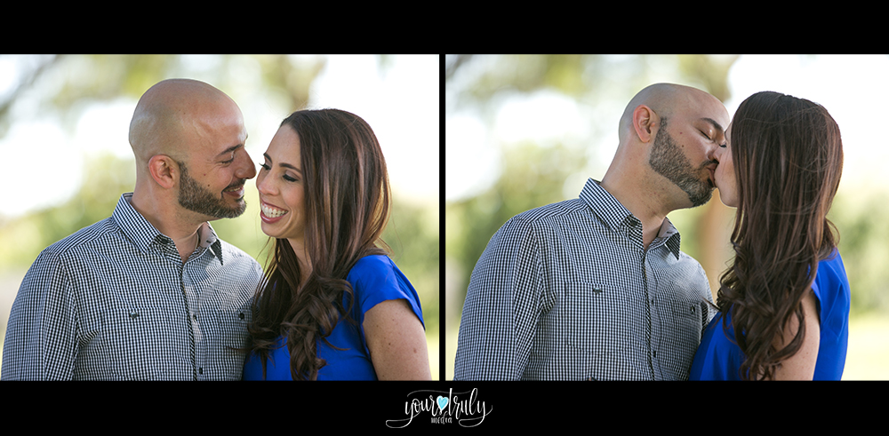 Engagement Photography Services in Orange County, CA - Left: Engaged couple facing one another and smiling. Right: Engaged couple kissing from a profile view.