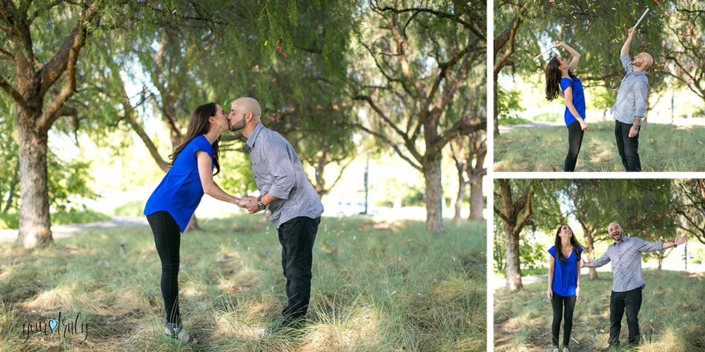 Engagement Photography Services in Orange County, CA - Engaged couple having fun in a field of green. Left: Leaning in and kissing. Right Upper: Throwing confetti into the air. Right Lower: Smiling enthusiastically as confetti rains down.