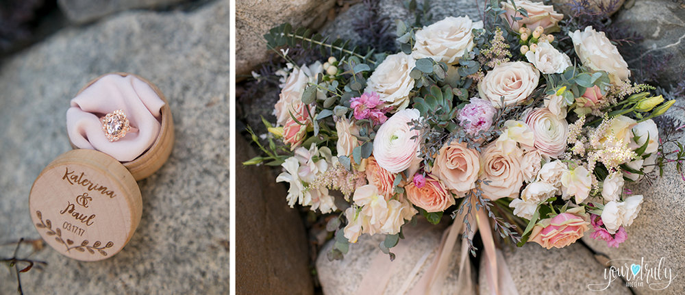 Wedding Photography Packages - San Diego, CA - Japanese Friendship Garden - Brides bouquet and wedding ring.