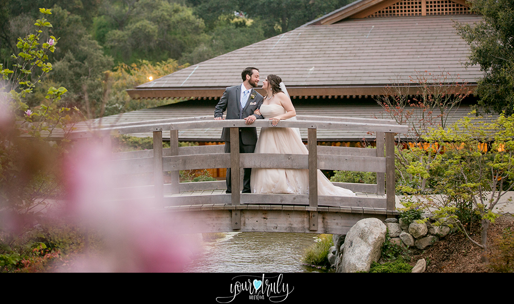 Wedding Photography Packages - San Diego, CA - Japanese Friendship Garden - Bride and groom on a bridge with a Japanese style house in the background.